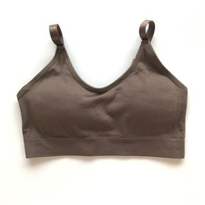 NEW Seamless Sports Bralette Stretchable Drk Brown